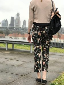 Me wearing my handmade trousers - the perfect fit!