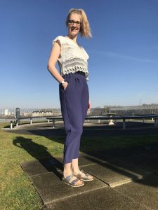 This is me wearing my Carrie Trousers - perfect for summer!