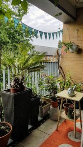 My finished bunting on the balcony